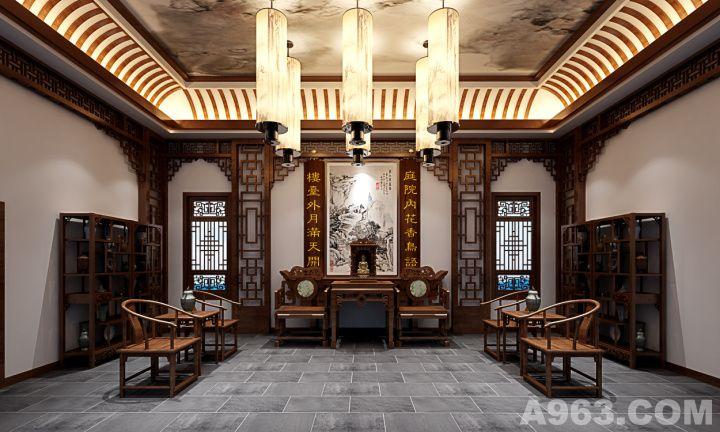 中国风的构成主要体现在传统家具(多为清明家具为主)装饰品及黑,红为主的装饰色彩上。室内多采用对称式的布局方式,格调高雅,造型朴素优美,色彩浓厚而成熟。中国传统室内陈设包括字画、匾幅、盘景、陶瓷、古玩、屏风、博古架等,追求一种修身养性的生活境界。中国传统室内装饰艺术的特点是总体布局对称均衡,端正稳健,而在装饰细节上崇尚自然情趣,花鸟、鱼虫等精雕细琢,富于变化,充分体现出中国传统美学精神。
