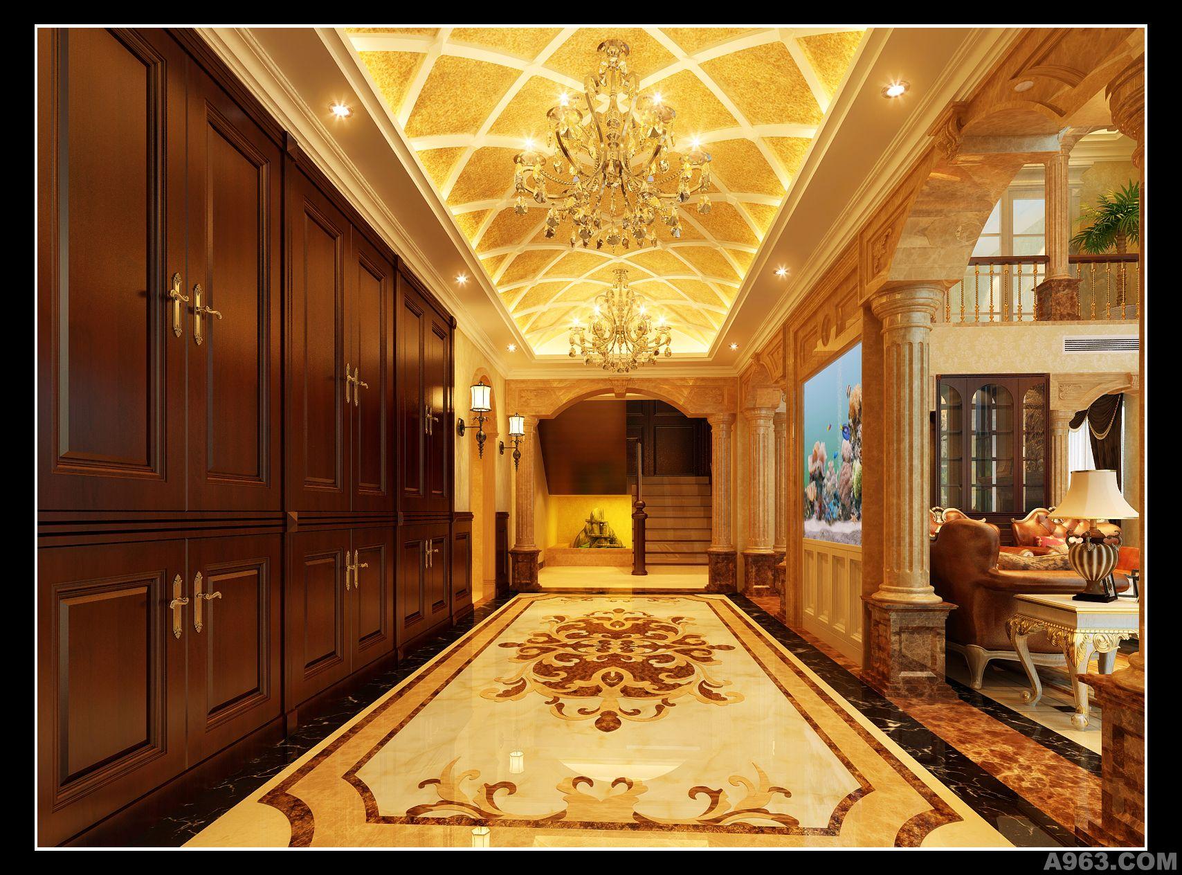 别墅室内装修设计   本案整体设计定位为欧式宫廷