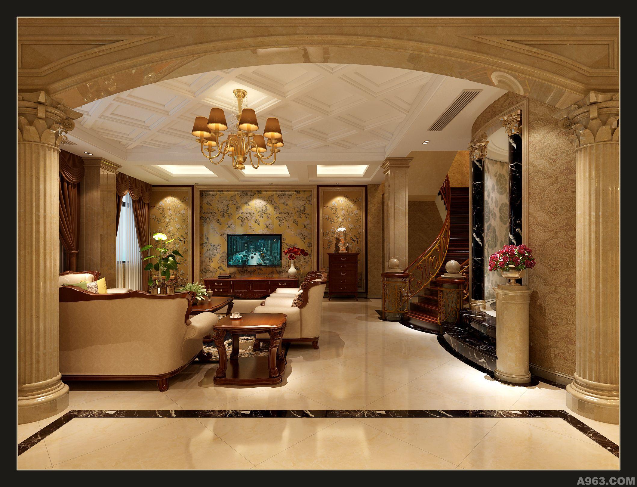 欧式庄园客厅楼梯