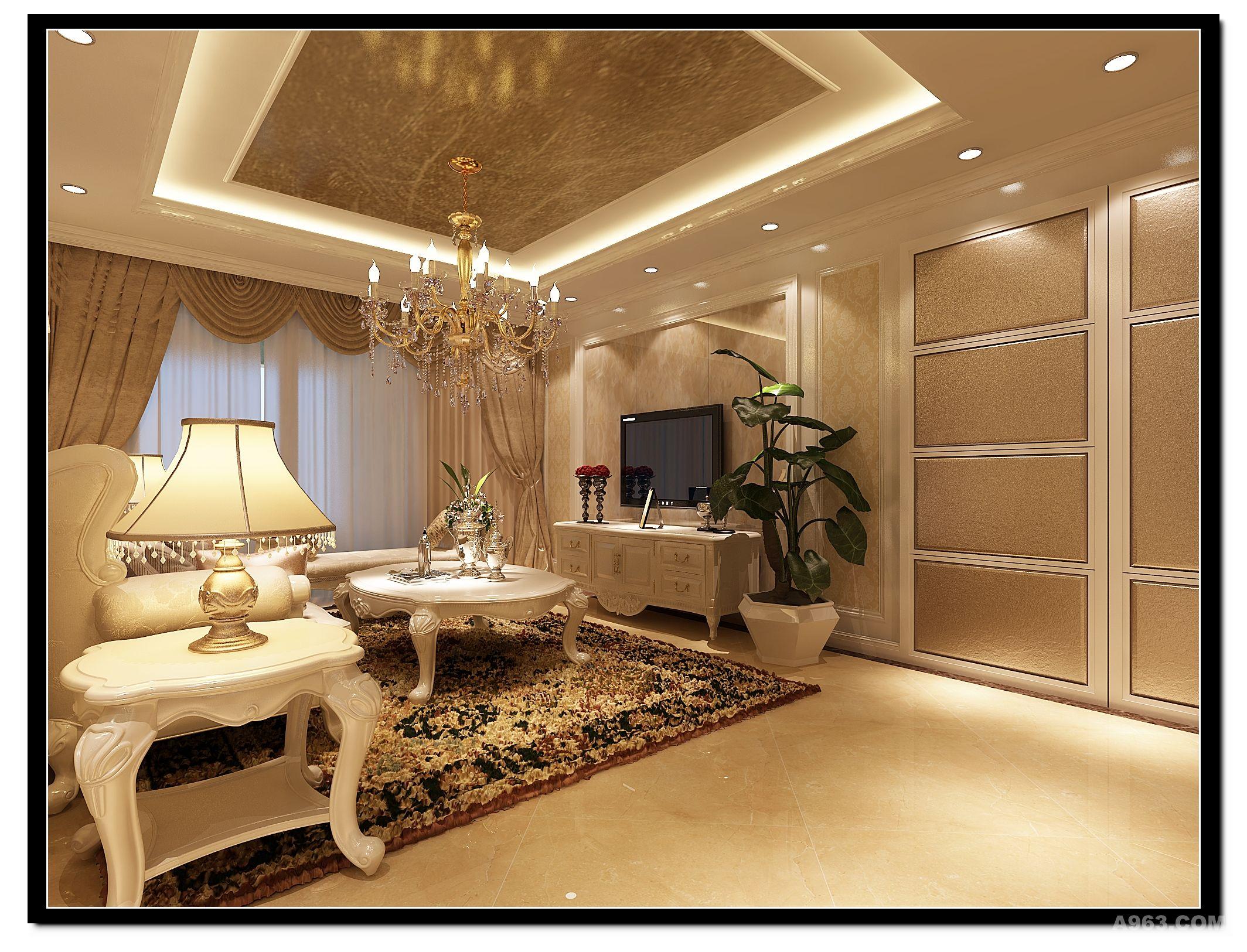 客厅电视背景墙采用石材拼花与软包隐形门整体的结合在一起.